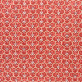 Coated cretonne cotton fabric - Terracotta Riad x 10cm