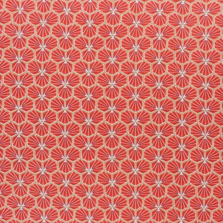 Coated cretonne cotton fabric - Terracotta Riad x 10cm