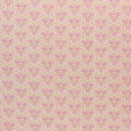 Coated cretonne cotton fabric - coral pink Riad x 10cm