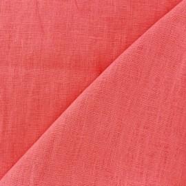Tissu lin lavé (laize: 135cm) rose corail x 10cm