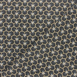 Coated cretonne cotton fabric - black Riad  x 10cm