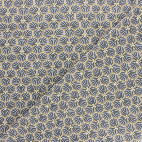Cretonne cotton fabric - black Riad x 10cm
