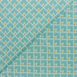 Tissu coton cretonne Ecailles dorées - gris x 10cm