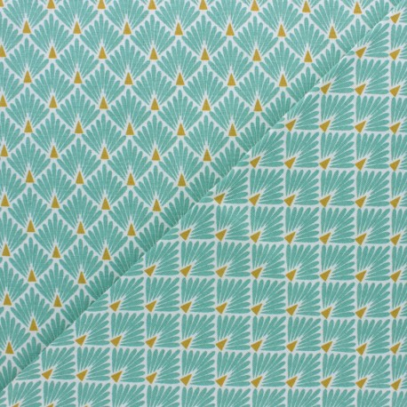 Cretonne cotton Fabric Ecailles dorées - grey x 10cm