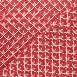 Cretonne cotton Fabric Ecailles dorées - red x 10cm