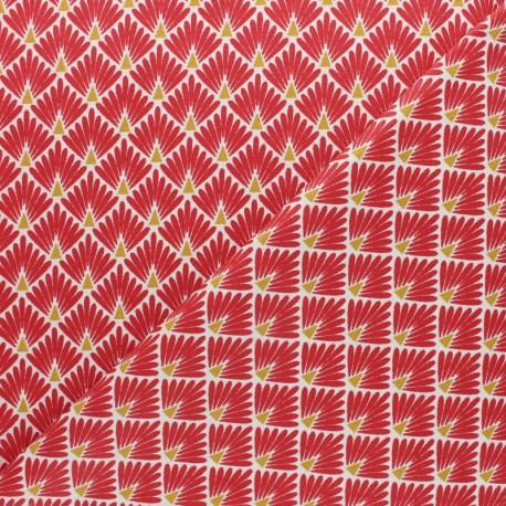 Cretonne cotton Fabric Ecailles dorées - beige x 10cm