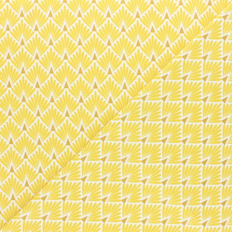 Cretonne cotton Fabric Ecailles dorées - yellow x 10cm