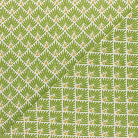 Cretonne cotton Fabric Ecailles dorées - yellow x 10cm