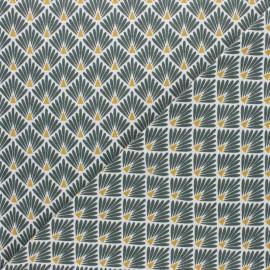 Tissu coton cretonne Ecailles dorées - vert x 10cm