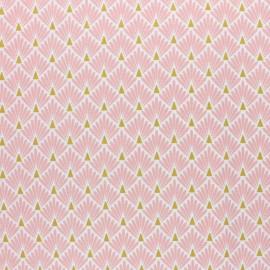 Tissu coton cretonne enduit Ecailles dorées - bleu pétrole x 10cm