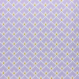 Tissu coton cretonne enduit Ecailles dorées - rose x 10cm