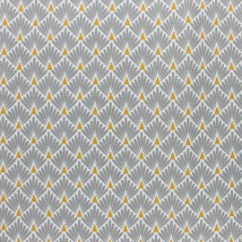 Coated cretonne cotton Fabric Ecailles - grey x 10cm