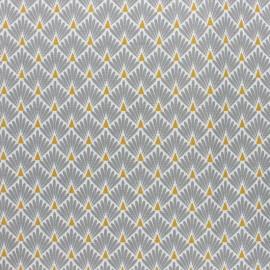 Tissu coton cretonne enduit Ecailles dorées - gris x 10cm