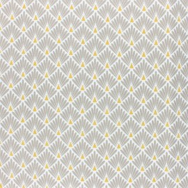 Coated cretonne cotton Fabric Ecailles - beige x 10cm