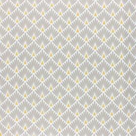 Tissu coton cretonne enduit Ecailles dorées - beige x 10cm