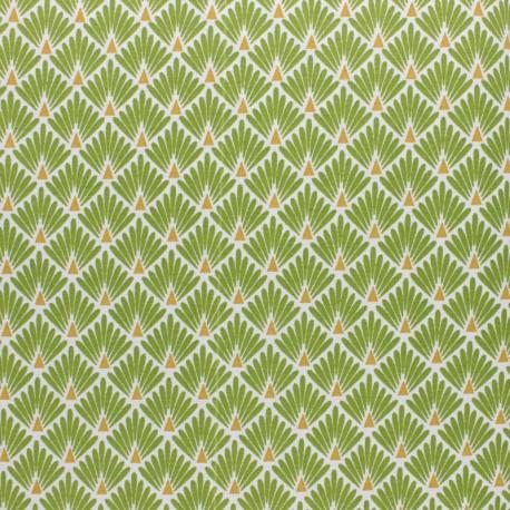 Coated cretonne cotton Fabric Ecailles - beige x 10cm