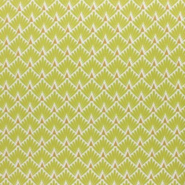 Coated cretonne cotton Fabric Ecailles - Lemongrass  x 10cm
