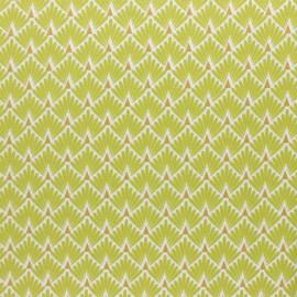 Tissu coton cretonne enduit Ecailles dorées - vert x 10cm