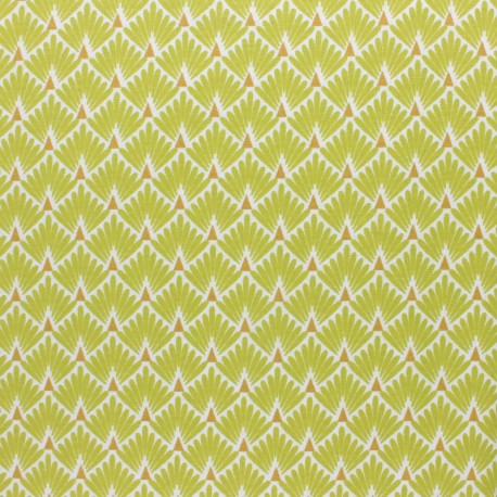 Coated cretonne cotton Fabric Ecailles - vert x 10cm