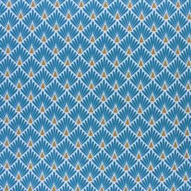 Tissu coton cretonne enduit Ecailles dorées - citronnelle x 10cm