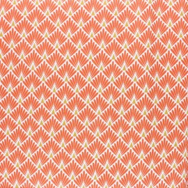 Tissu coton cretonne enduit Ecailles dorées - orange x 10cm