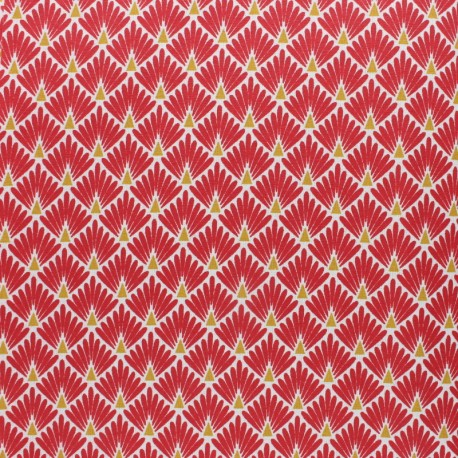 Coated cretonne cotton Fabric Ecailles - orange x 10cm