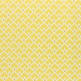 Tissu coton cretonne enduit Ecailles dorées - rouge x 10cm