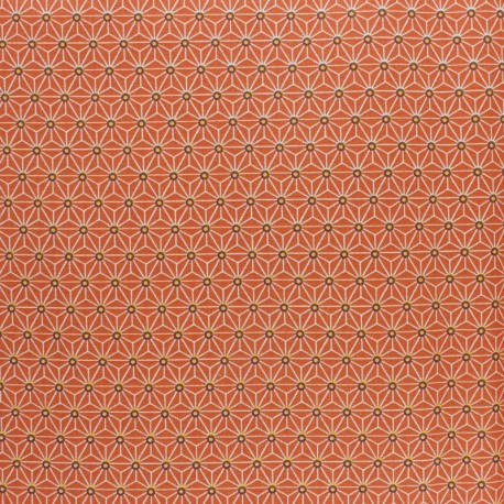 Coated cretonne cotton fabric - orange saki x 10 cm