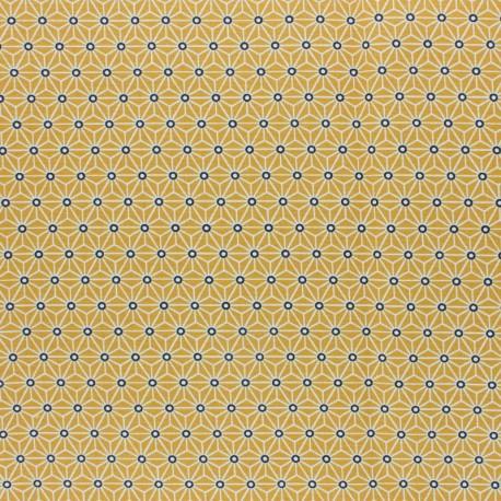 Coated cretonne cotton fabric - yellow saki x 10 cm