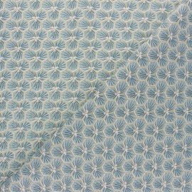 Cretonne cotton fabric - light blue Riad x 10cm