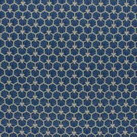 Coated cretonne cotton fabric - Petrol blue Riad x 10cm