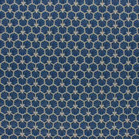 Tissu coton cretonne enduit Riad - bleu pétrole x 10cm