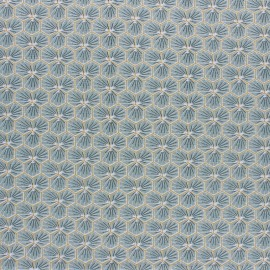 Coated cretonne cotton fabric - grey green Riad x 10cm