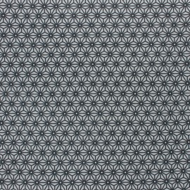 Coated cretonne cotton fabric - grey/indigo saki x 10 cm
