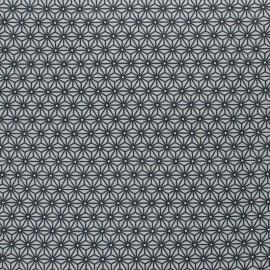 Tissu coton cretonne enduit Saki - gris/indigo x 10cm