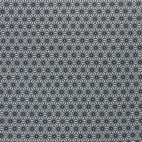 Coated cretonne cotton fabric - grey/indigo saki x 10 cm