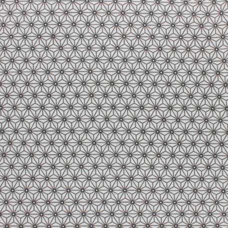 Coated cretonne cotton fabric - white/grey saki x 10 cm