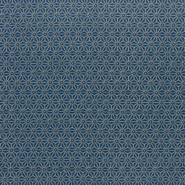 Coated cretonne cotton fabric - indigo/grey saki x 10 cm