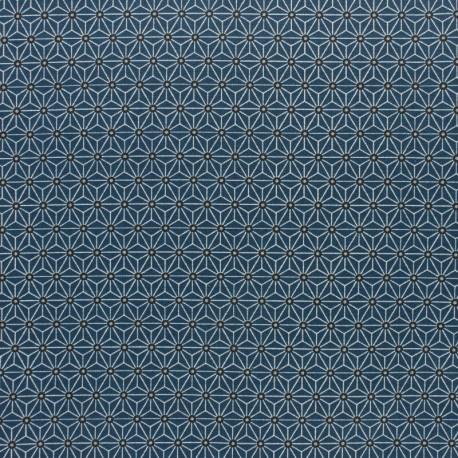 Coated cretonne cotton fabric - indigo/grey saki x 10 cm