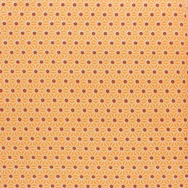 Coated cretonne cotton fabric - Mandarine saki x 10 cm