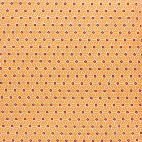 Coated cretonne cotton fabric - Mandarine saki x 10 cm