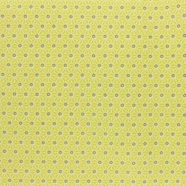 Tissu coton cretonne enduit Saki - Citronnelle x 10cm