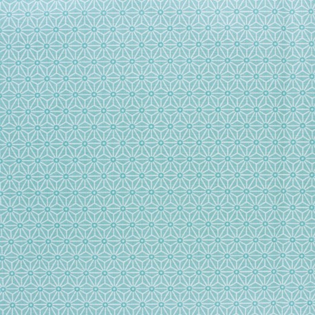 Coated cretonne cotton fabric - Ether saki x 10 cm
