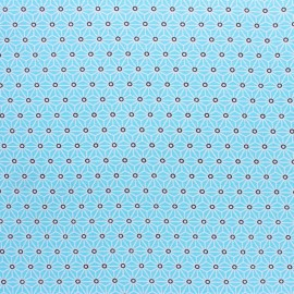Coated cretonne cotton fabric - Aqua saki x 10 cm