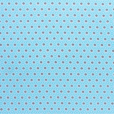 Coated cretonne cotton fabric - Aqua saki x 10 cm