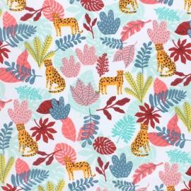 Cretonne cotton fabric - Coral pin Simba x 10cm