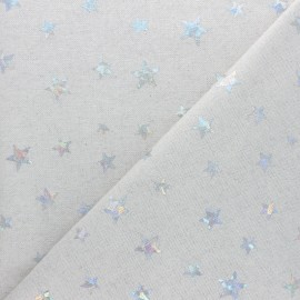 Polycotton fabric - Natural Holographic Stars x 10cm