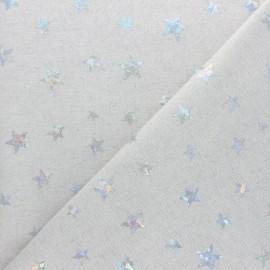 Tissu polycoton Holographic Stars - naturel x 10cm