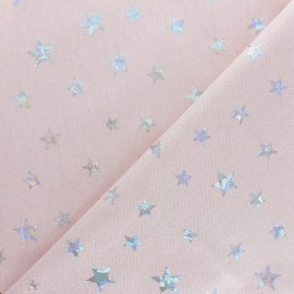 Polycotton fabric - pink Holographic Stars x 10cm