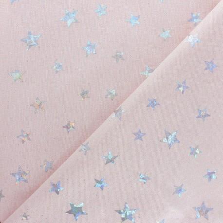 Tissu polycoton Holographic Stars - rose x 10cm